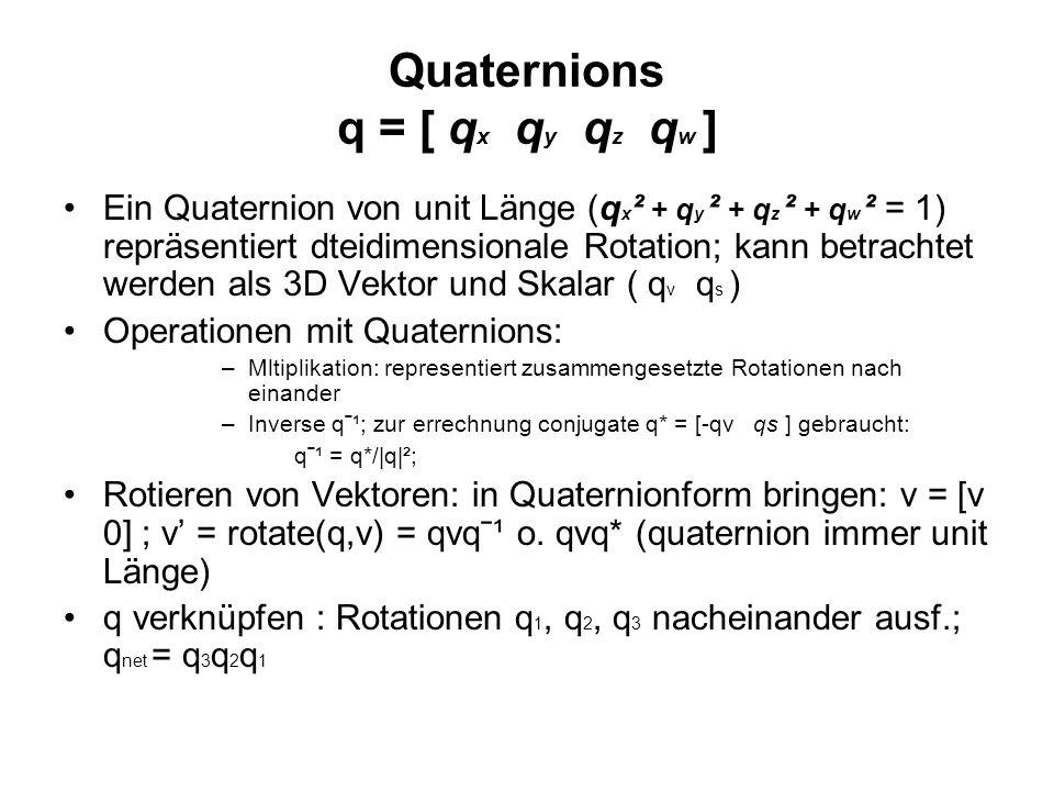 Quaternions q = [ qx qy qz qw ]